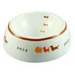 CERAMIC PLAYING DOG DISH (SMALL) DC198