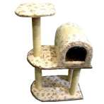 CAT TREE 3 TIER FLOWER PRINT FABRIC WITH BOX HOME & TOY YS1501185
