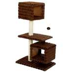 CAT TREE 3 TIER WITH 2 BOX HOME (BROWN) YS89263