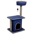 CAT TREE 3 TIER WITH BOX HOME & TOY (BLUE) YS89352