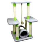 CAT TREE 3 TIER WITH TUNNEL & ROPE (DARK GREY) YZJS15648