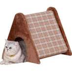 CAT SCRATCHER-TRIANGLE-CHECKERED (BROWN) YS93233