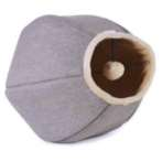LINEN CAT CAVE WITH TOY (BEIGE / GREY) UP0UP5222TO