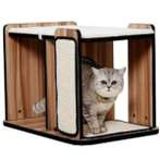 CAT HOUSE + SCRATCHER & BED (BROWN) YS95609