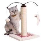 CAT TREE WITH SISAL POLE & TOY (RED) YS95700