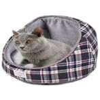 PET BED DOME - CHECKED (GREY) YF98571GY
